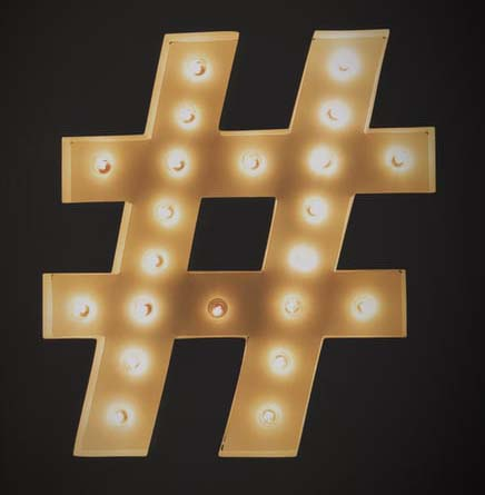 A hashtag symbol made of lights