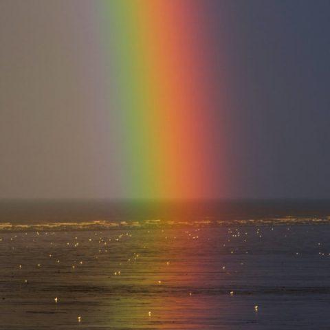 a rainbow hitting the sea