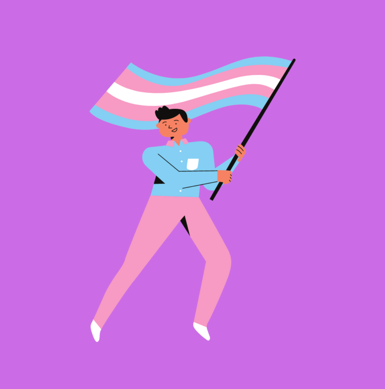 Purple background with a male holding a LGBTQ+ flag