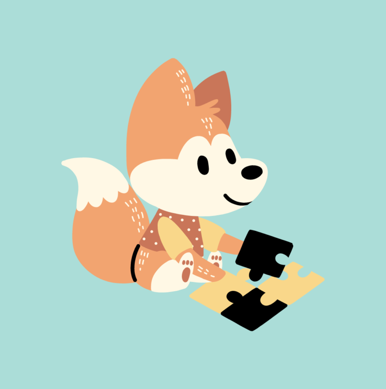 A fox doing a puzzle