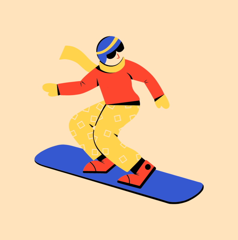 Graphic of someone snowboarding