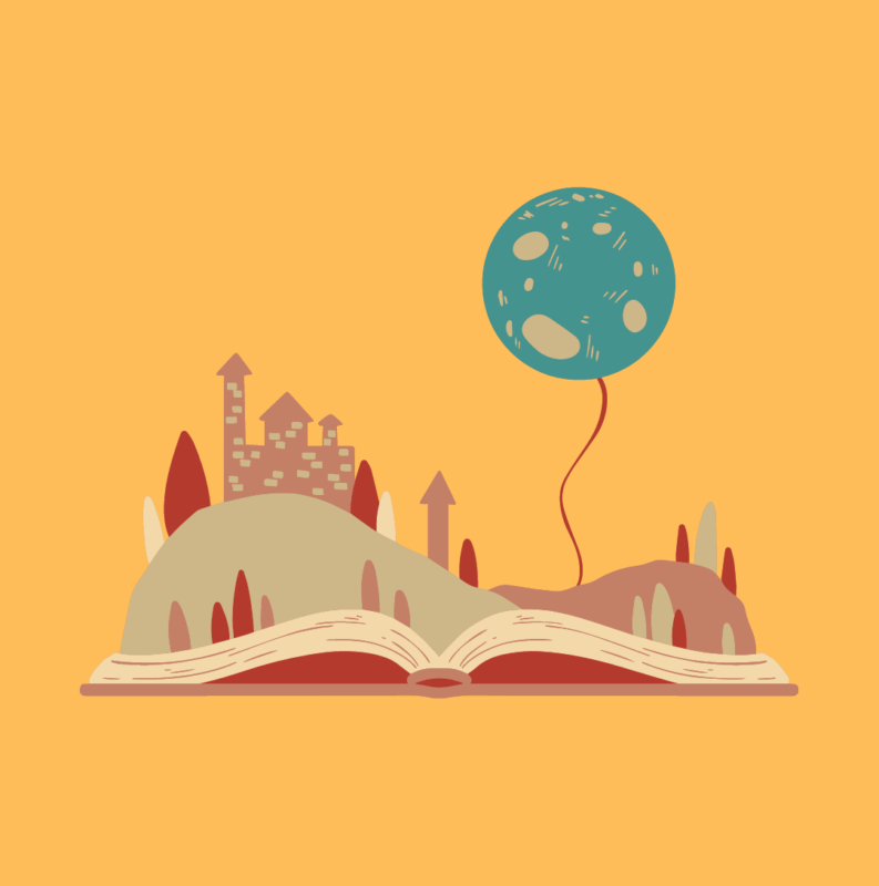 A graphic of a book that has a story coming out of it