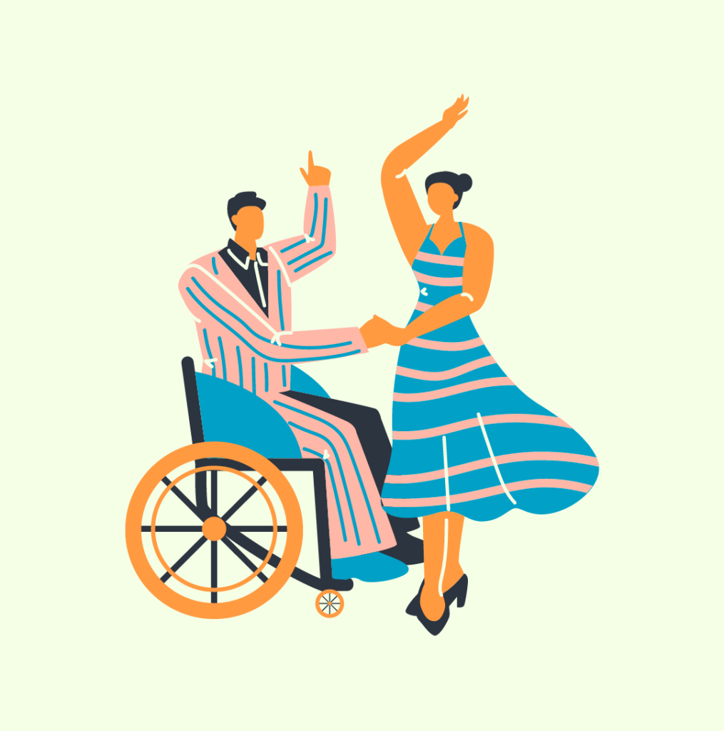 A person in a wheel chair dancing with someone