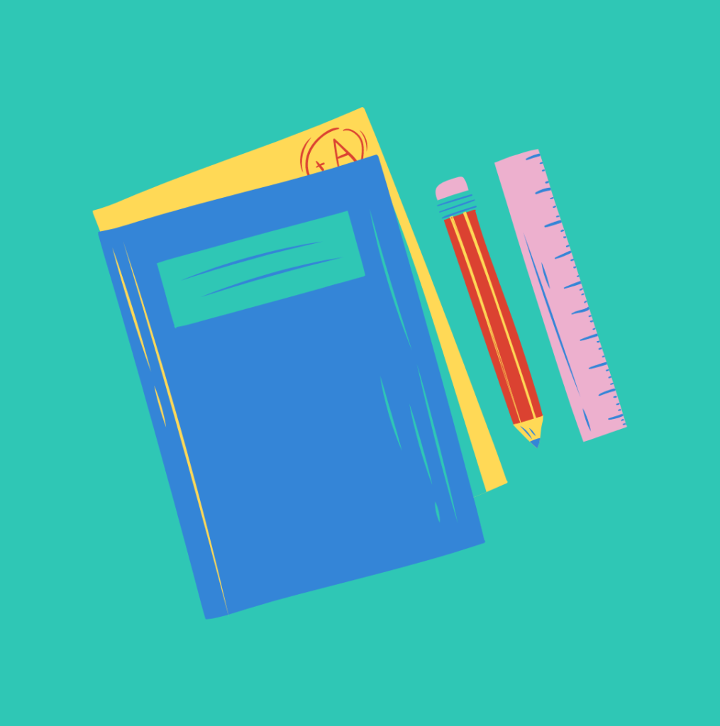 School books, pen and ruler