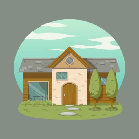 A graphic of a house