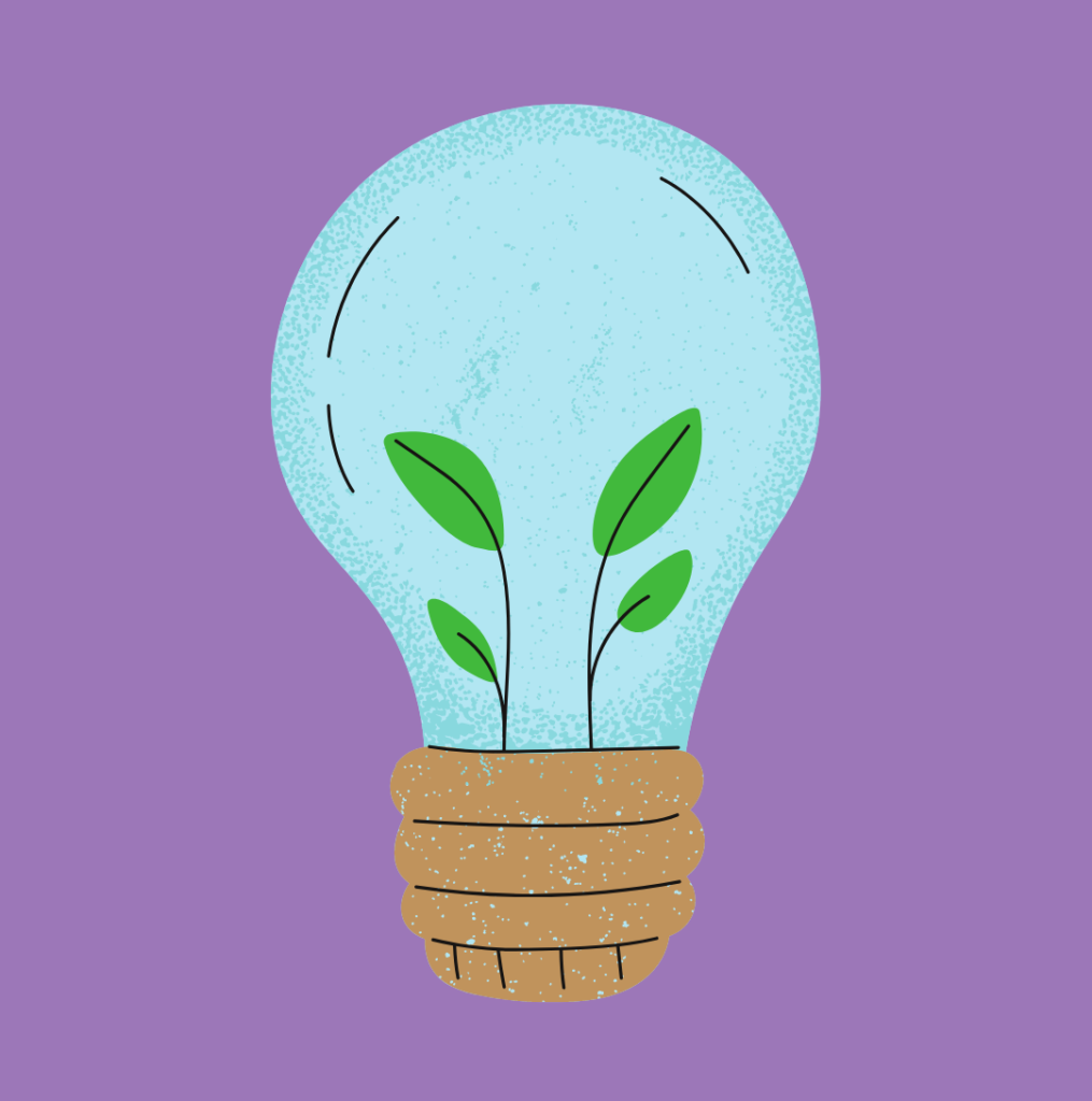 Plants growing within a light bulb